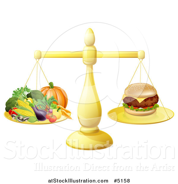 Vector Illustration of a 3d Golden Scale Comparing a Cheeseburger to Produce