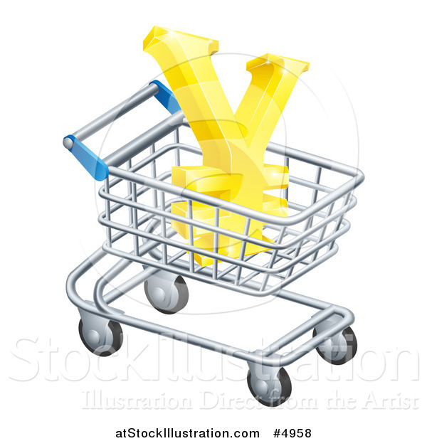 Vector Illustration of a 3d Golden Yen with a White Outline, in a Shopping Cart