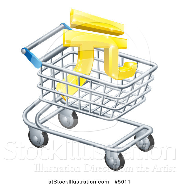 Vector Illustration of a 3d Golden Yuan Currency Symbol in a Shopping Cart