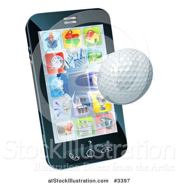 Vector Illustration of a 3d Golf Ball Flying Through and Breaking a Cellphone Screen