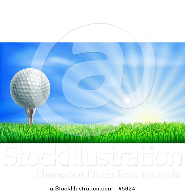 Vector Illustration of a 3d Golf Ball on a Tee over a Sunrise