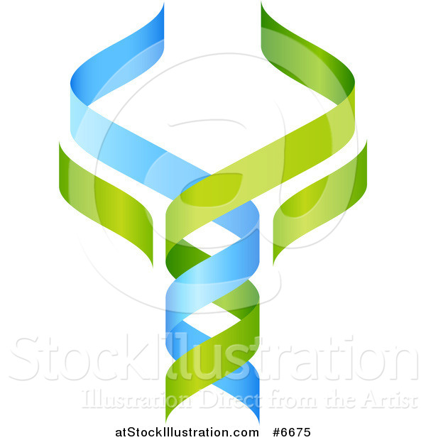 Vector Illustration of a 3d Green and Blue DNA Double Helix Tree Shaped like a Caduceus
