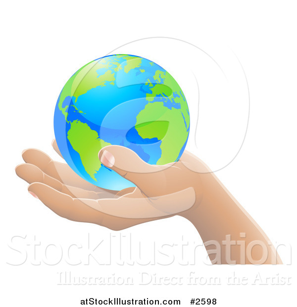 Vector Illustration of a 3d Hand Holding Earth Featuring the Atlantic