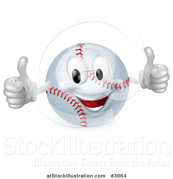 Vector Illustration of a 3d Happy Baseball Mascot Holding Two Thumbs up