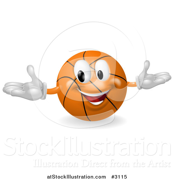 Vector Illustration of a 3d Happy Basketball Mascot