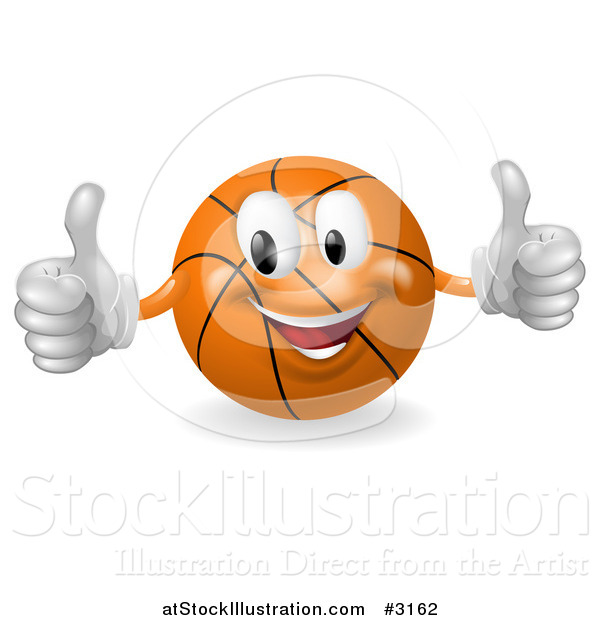 Vector Illustration of a 3d Happy Basketball Mascot Holding Two Thumbs up