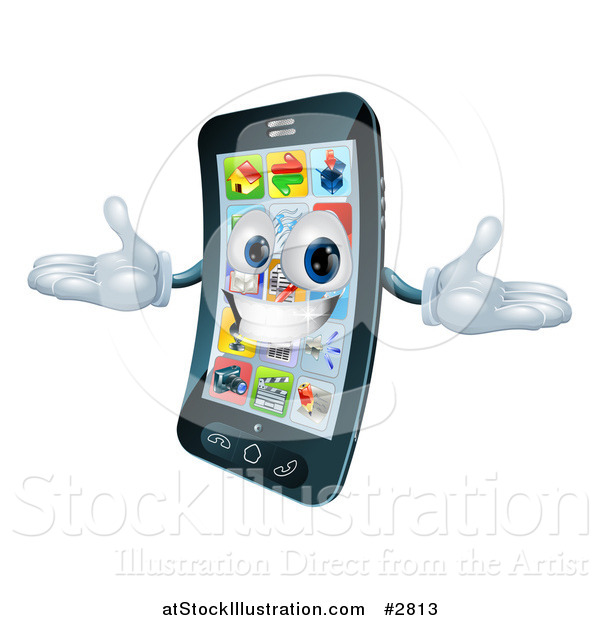 Vector Illustration of a 3d Happy Cell Phone Character Holding His Arms out