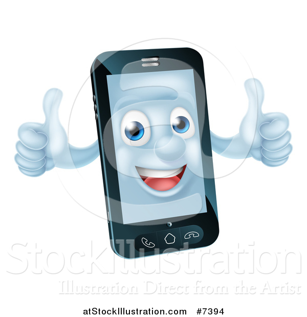 Vector Illustration of a 3d Happy Cell Phone Character Holding Two Thumbs up