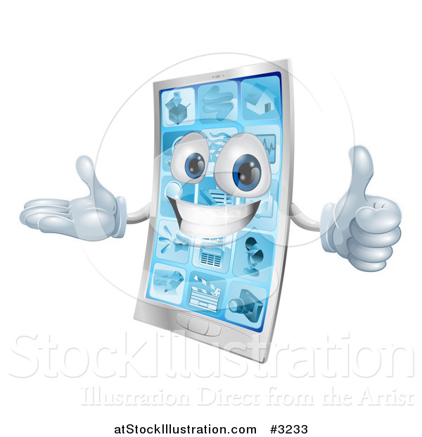 Vector Illustration of a 3d Happy Cell Phone Mascot Holding a Thumb up