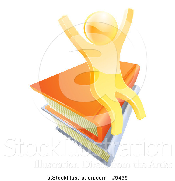 Vector Illustration of a 3d Happy Cheering Gold Man Sitting on a Stack of Books