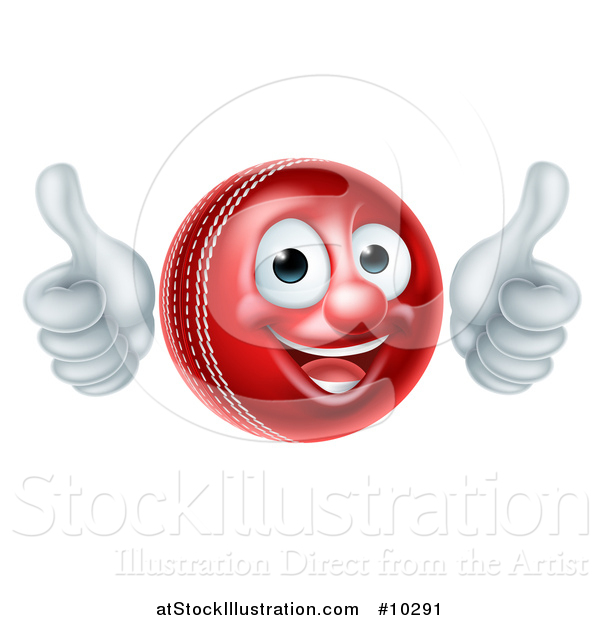 Vector Illustration of a 3d Happy Cricket Ball Mascot Character Giving Two Thumbs up