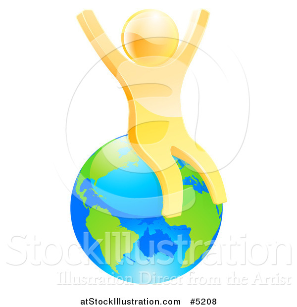 Vector Illustration of a 3d Happy Gold Man Sitting and Cheering on Planet Earth