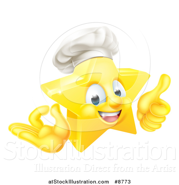 Vector Illustration of a 3d Happy Golden Chef Star Emoji Emoticon Character Giving a Thumb up and Gesturing Ok