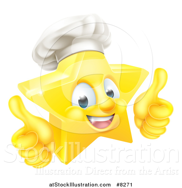 Vector Illustration of a 3d Happy Golden Chef Star Emoji Emoticon Character Giving Two Thumbs up