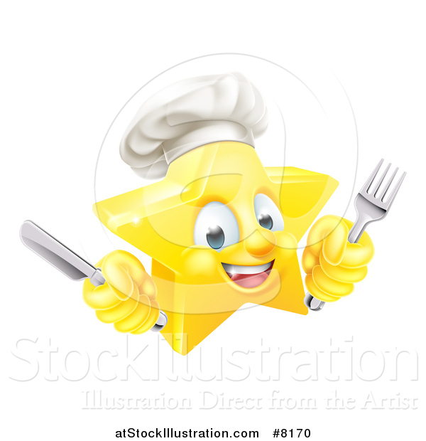 Vector Illustration of a 3d Happy Golden Chef Star Emoji Emoticon Character Holding Cutlery