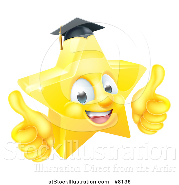 Vector Illustration of a 3d Happy Golden Graduate Star Emoji Emoticon Character Giving Two Thumbs up