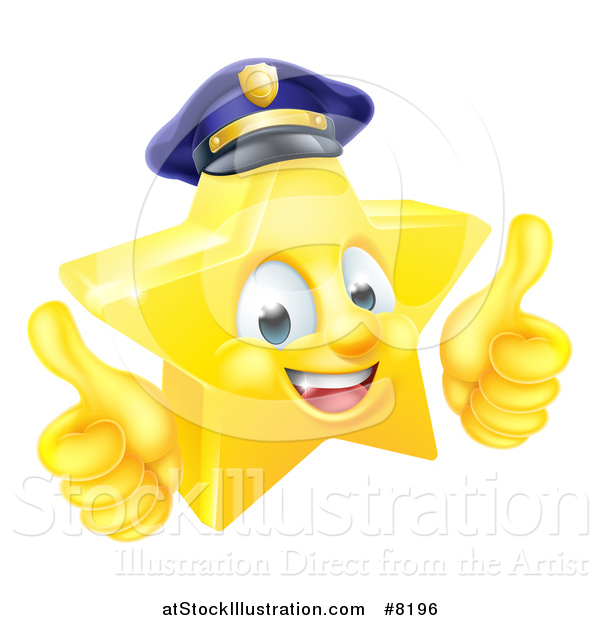 Vector Illustration of a 3d Happy Golden Police Office Star Emoji Emoticon Character Wearing a Hat and Giving Two Thumbs up