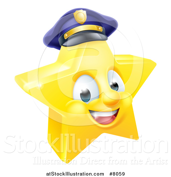 Vector Illustration of a 3d Happy Golden Police Office Star Emoji Emoticon Character Wearing a Hat