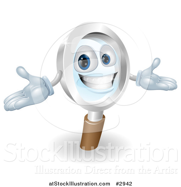 Vector Illustration of a 3d Happy Magnifying Glass Mascot with Open Arms