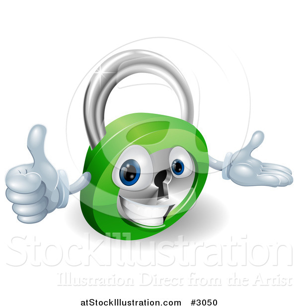 Vector Illustration of a 3d Happy Padlock Holding a Thumb up