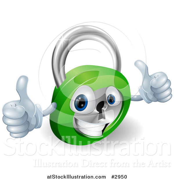 Vector Illustration of a 3d Happy Padlock with Two Thumbs up