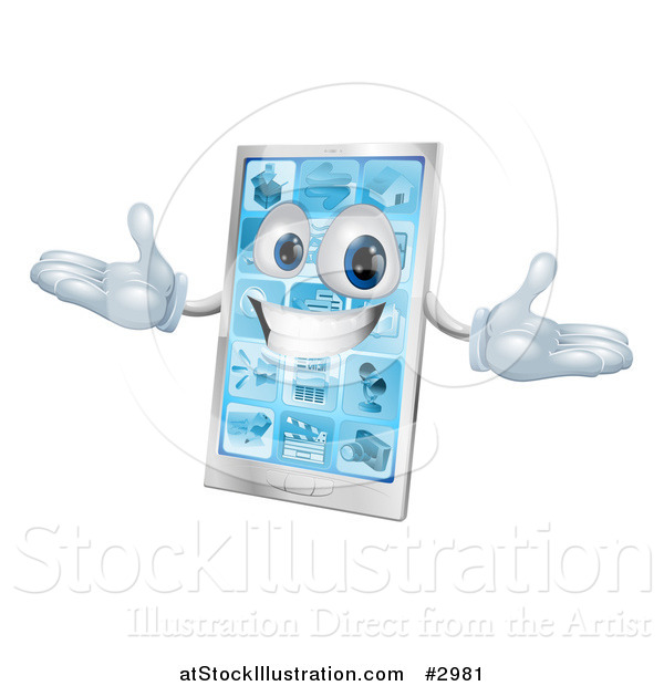 Vector Illustration of a 3d Happy Silver Touch Screen Smart Cell Phone