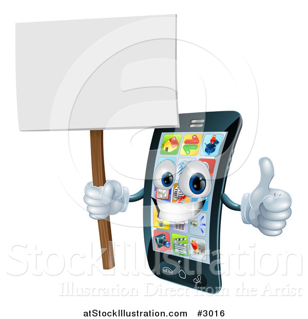 Vector Illustration of a 3d Happy Silver Touch Screen Smart Cell Phone Holding a Thumb up and Sign