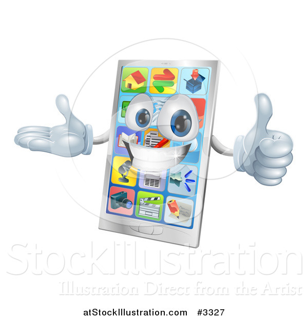 Vector Illustration of a 3d Happy Smart Cell Phone Mascot Holding a Thumb up