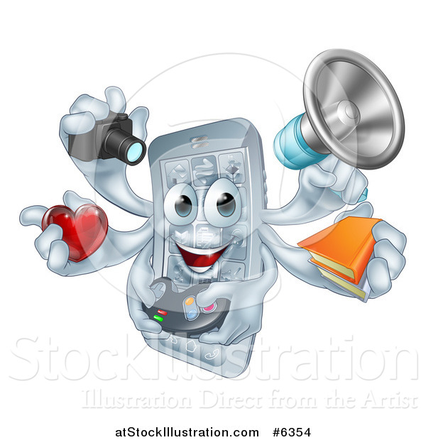 Vector Illustration of a 3d Happy Smart Phone Character Multitasking with a Megaphone, Books, Gamer Controller, Heart, and Camera