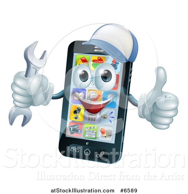 Vector Illustration of a 3d Happy Smart Phone Character Wearing a Baseball Cap, Holding a Thumb up and a Wrench