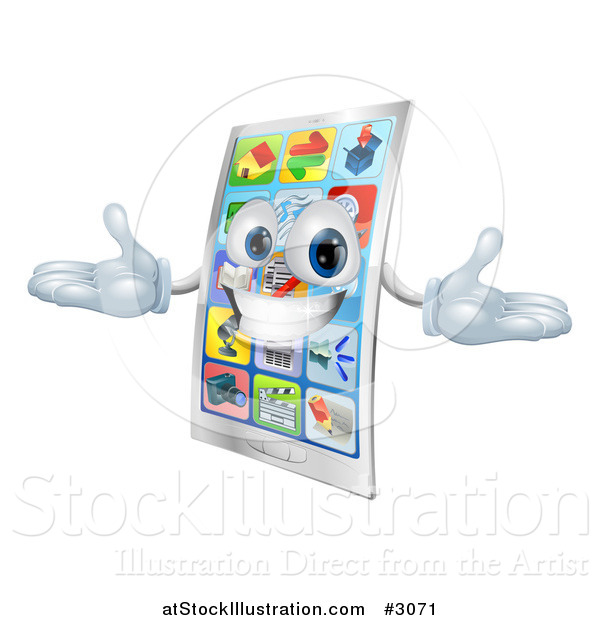 Vector Illustration of a 3d Happy Touch Screen Cell Phone Mascot