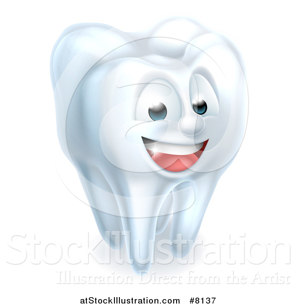 Vector Illustration of a 3d Happy White Tooth Character