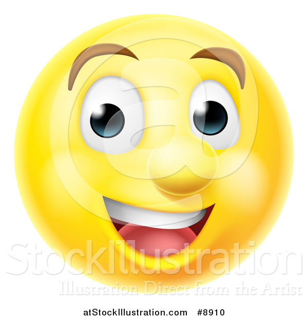 Vector Illustration of a 3d Happy Yellow Male Smiley Emoji Emoticon Face