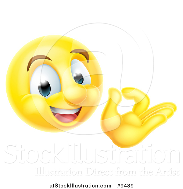 Vector Illustration of a 3d Happy Yellow Male Smiley Emoji Emoticon Face Gesturing Ok or Perfect