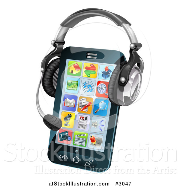 Vector Illustration of a 3d Headset on a Cell Phone with App Icons