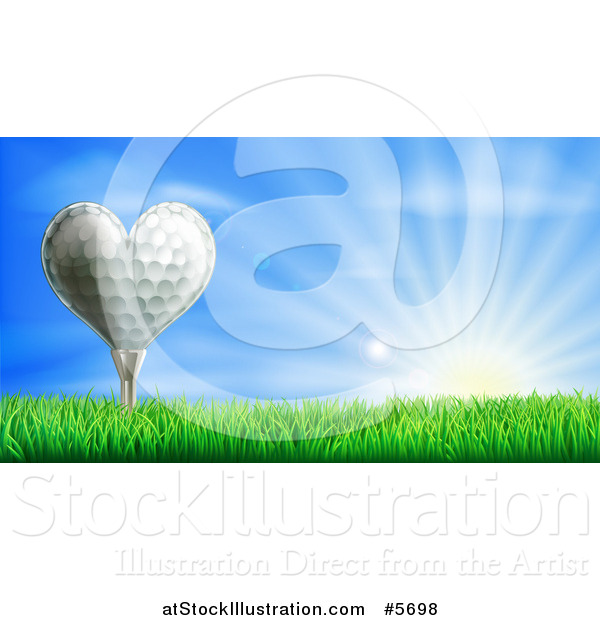 Vector Illustration of a 3d Heart Golf Ball on a Tee over a Sunrise