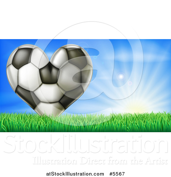 Vector Illustration of a 3d Heart Soccer Ball in Grass over Sunshine