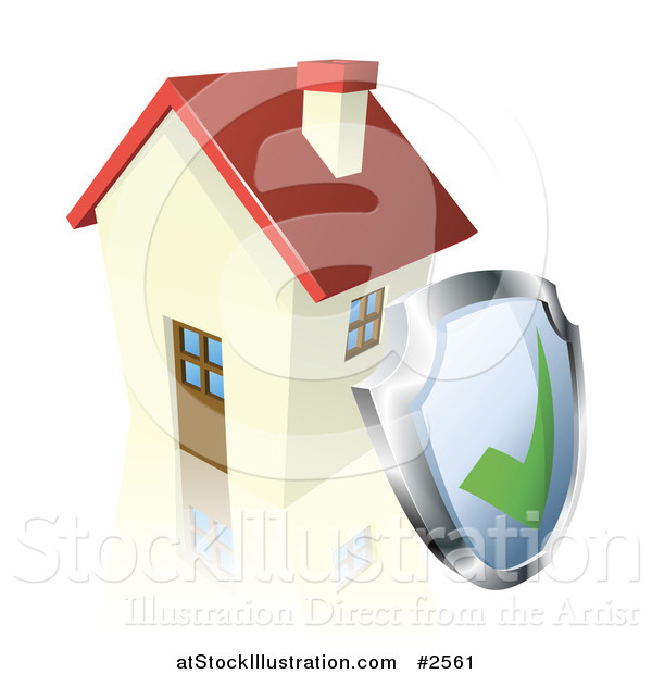 Vector Illustration of a 3d Home Security Shield Against a House