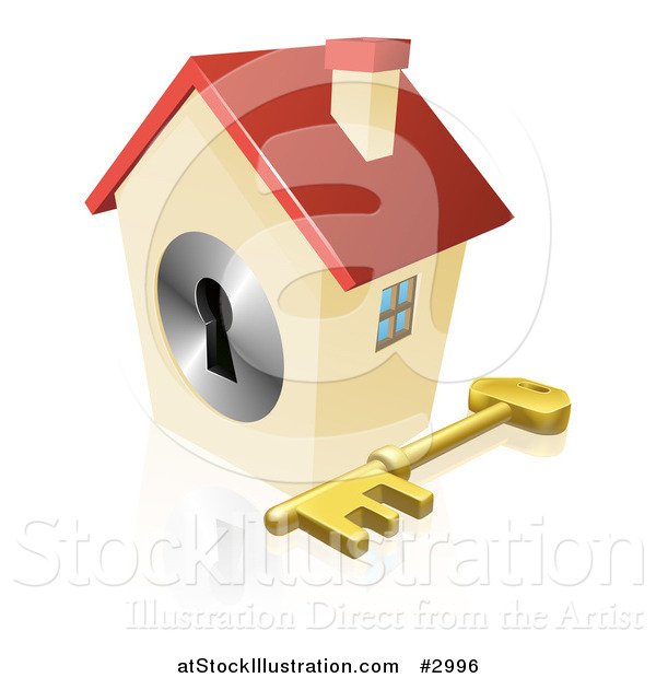 Vector Illustration of a 3d House Padlock with a Skeleton Key