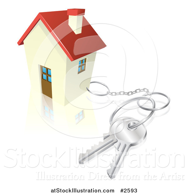 Vector Illustration of a 3d House with Keys Attached