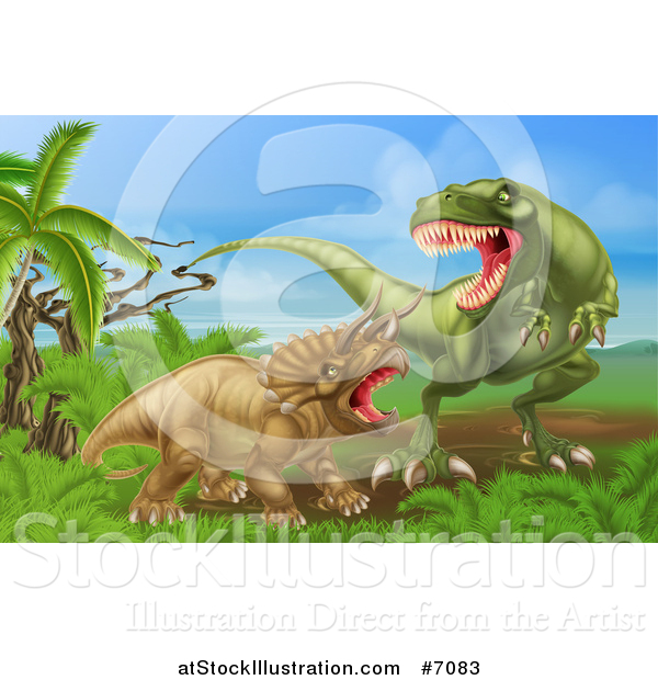 Vector Illustration of a 3d Hungry Tyrannosaurus Rex Dinosaur Attacking a Triceratops