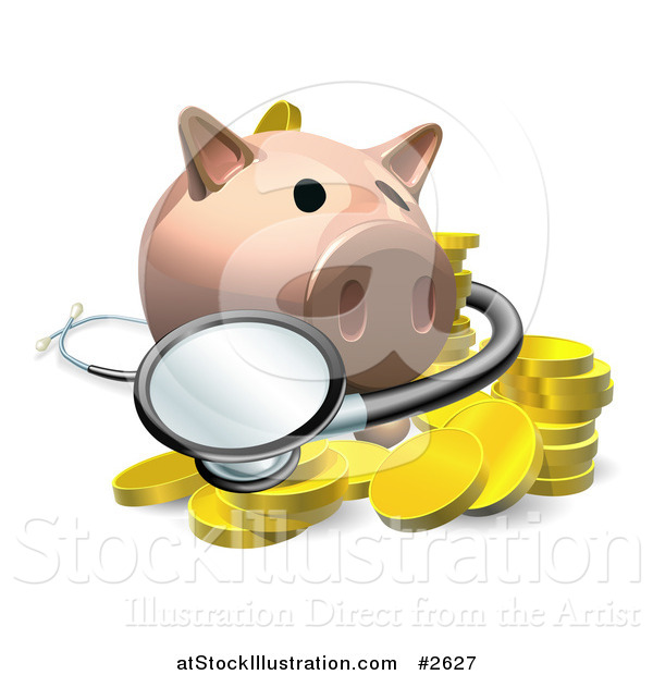 Vector Illustration of a 3d Investment Piggy Bank with a Stethoscope and Coins