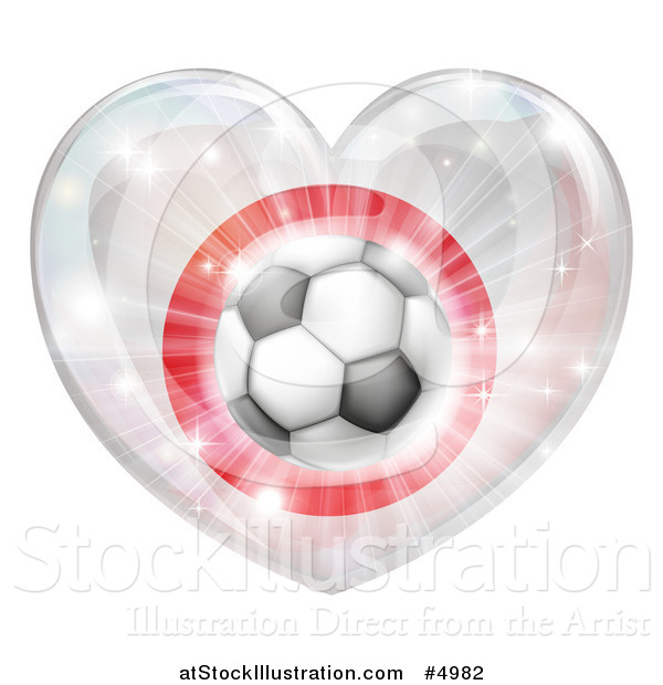 Vector Illustration of a 3d Japanese Flag Heart and Soccer Ball