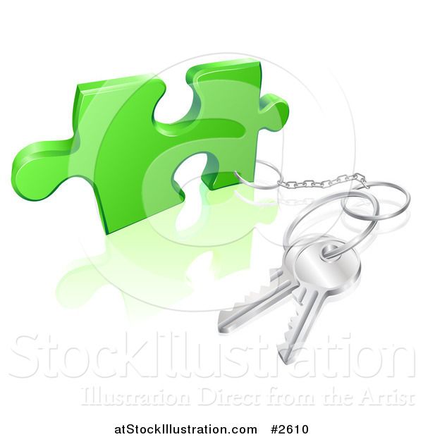 Vector Illustration of a 3d Key Ring Attached to a Puzzle Piece