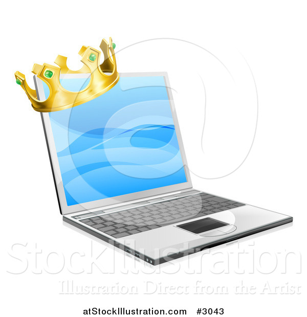 Vector Illustration of a 3d Kings Crown on a Laptop