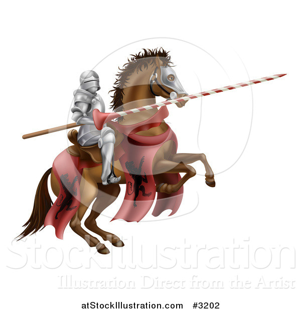 Vector Illustration of a 3d Knight Holding a Jousting Lance on a Rearing Horse