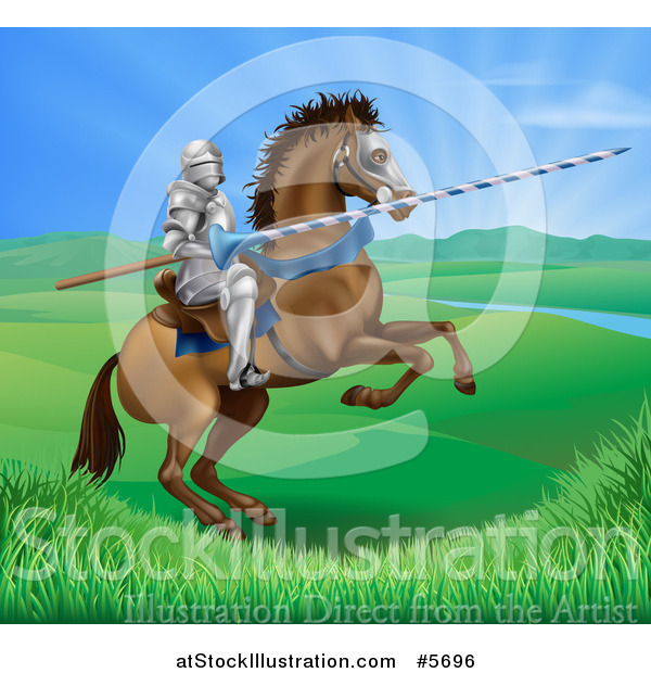 Vector Illustration of a 3d Knight Holding a Jousting Lance on a Rearing Horse in a Valley