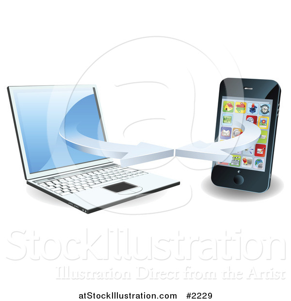 Vector Illustration of a 3d Laptop and Smart Phone Connecting on a Wifi Network