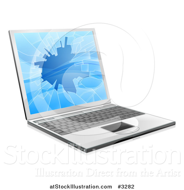 Vector Illustration of a 3d Laptop Computer with a Shattered Screen