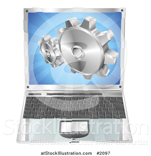 Vector Illustration of a 3d Laptop Gear Cogs Emerging from the Screen